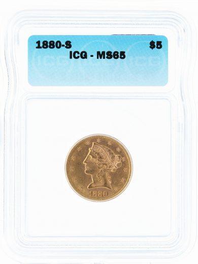 1880-S Half Eagle ICG MS65 $5 40101