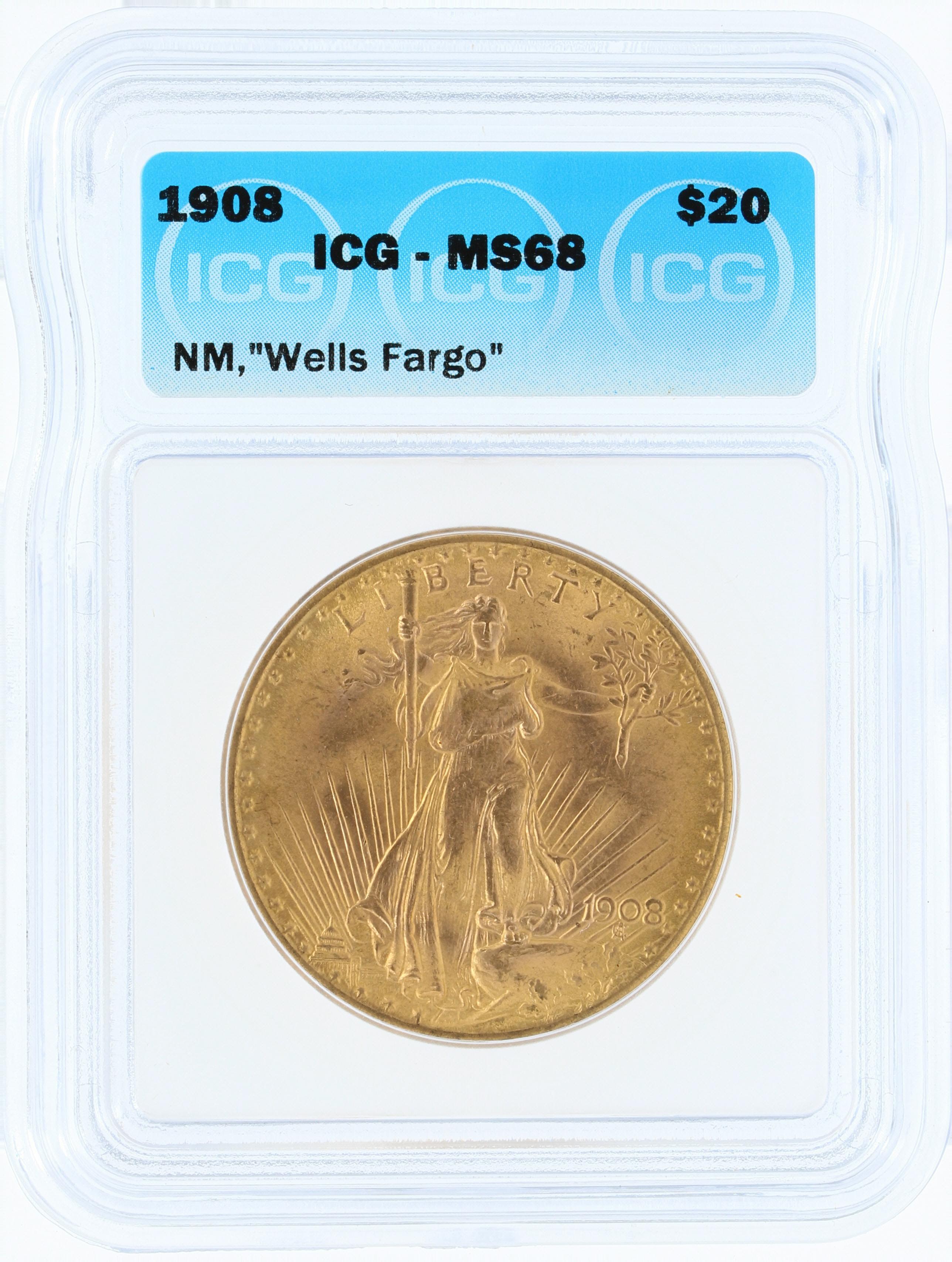 1908 NM Wells Fargo ICG MS68 Saint Gaudens | Phoenix