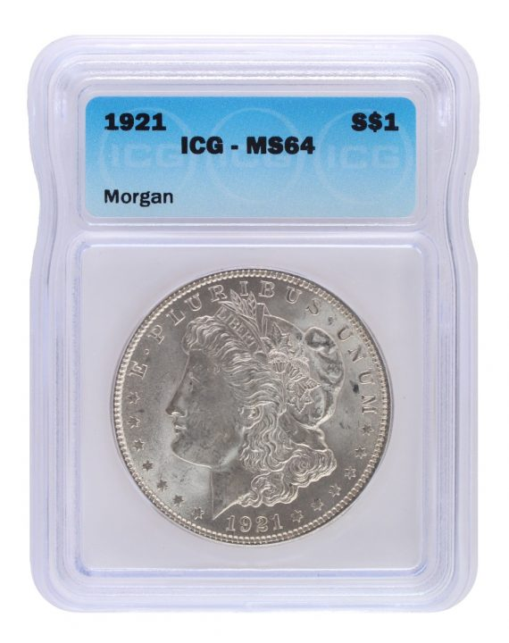 1921 Silver Morgan Dollar ICG MS64