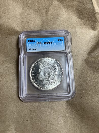1921 Silver Morgan Dollar ICG MS64 obv