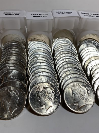 BU Peace Dollar Set 1922 to 1925 Rolls