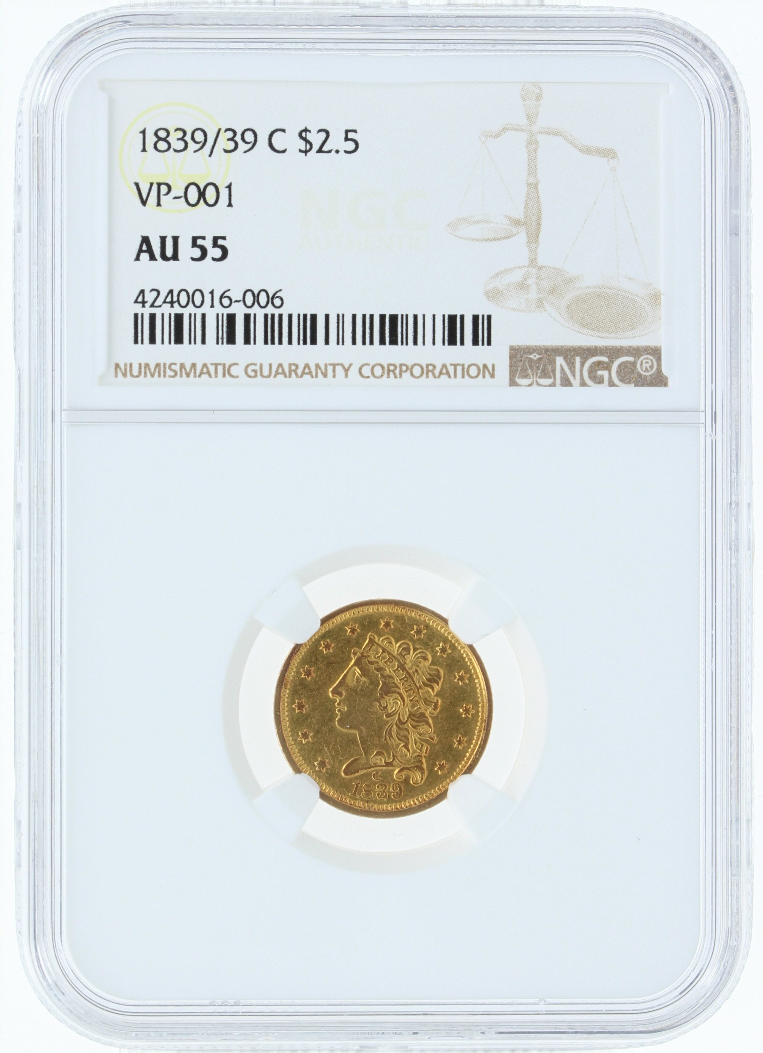 1839-/39-C NGC AU55 $2.5 Feature Coin