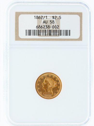1862/1 NGC AU58 $2.5 Quarter Eagle 38002