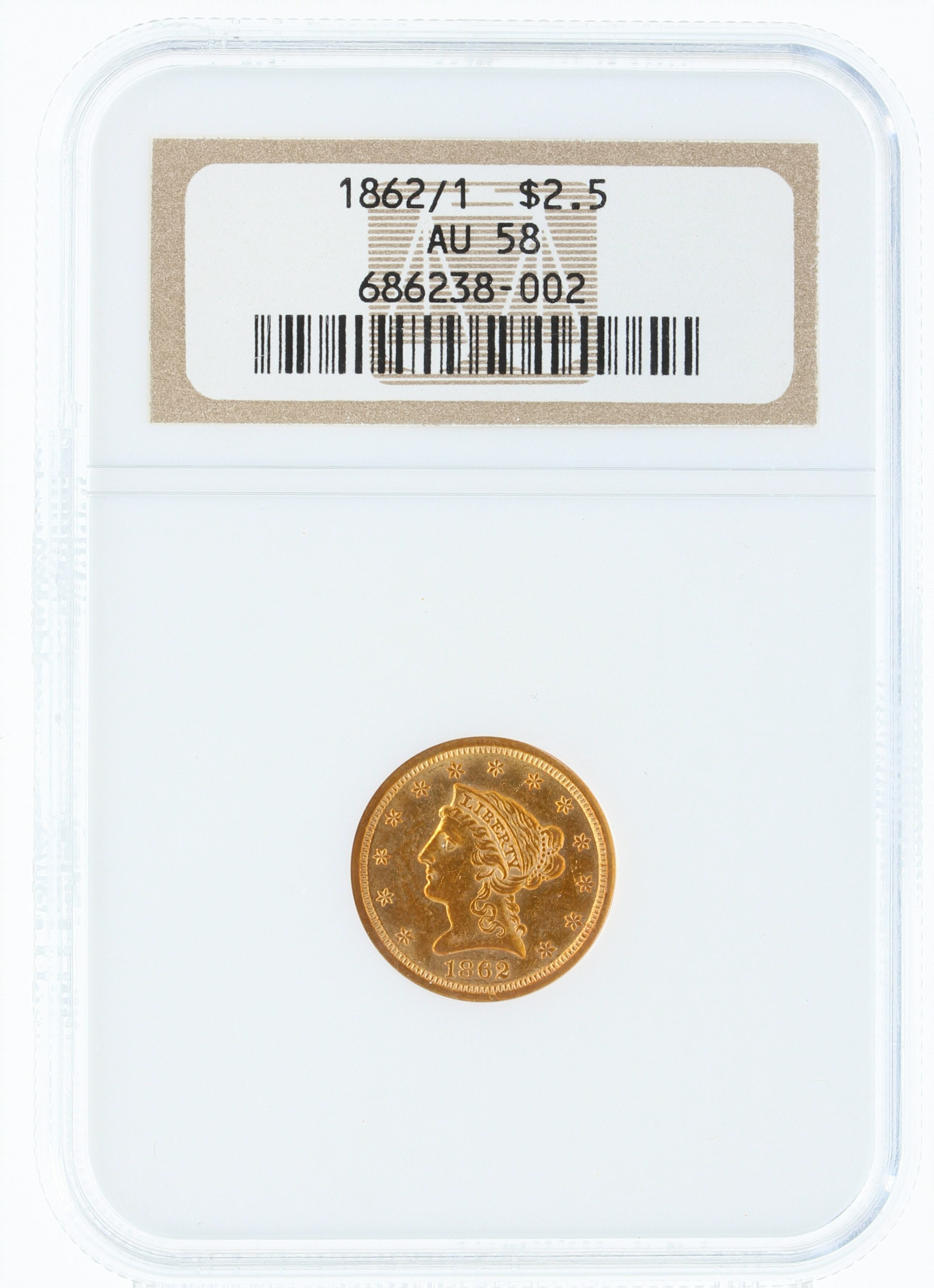 Collectors Chair:  1862/1 NGC AU58 $2.5 Overdate Rare Coin
