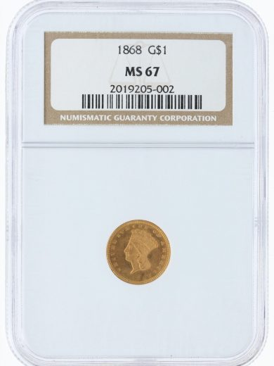 1868 gold dollar NGC MS67