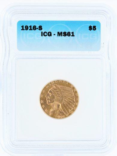 1916-S ICG MS61 $5 01301