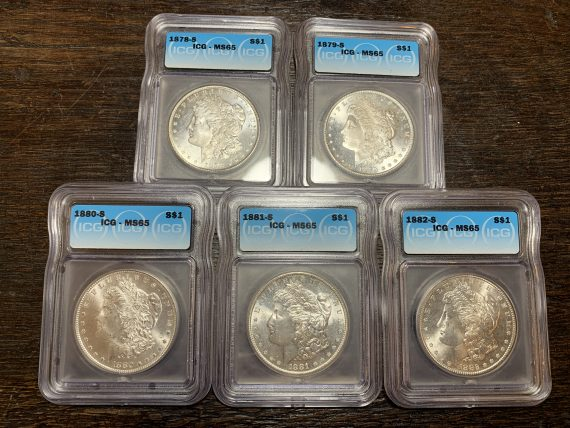 San Francisco Morgan Set MS65 5 Coin