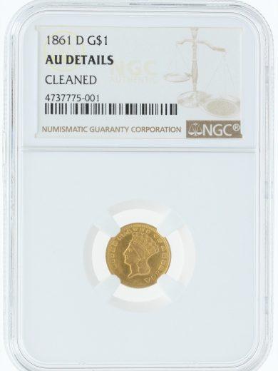 1861-D Gold Dollar NGC AU Details Cleaned obv