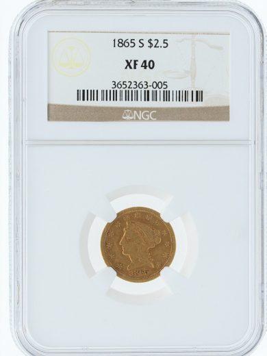 1865-S NGC XF40 $5 obv