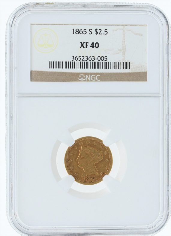 1865-S NGC XF40 $5 obv