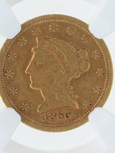 1865-S NGC XF40 $5 obv-zm