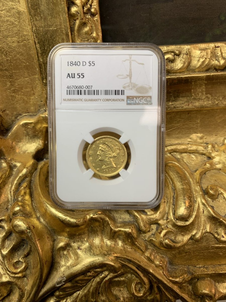 Featured Coin:  1840-D NGC AU55 $5 Half Eagle
