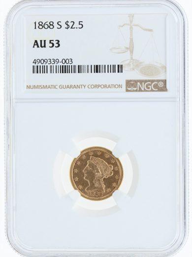 1868-S Quarter Eagle NGC AU53 $2.5 39003 obv