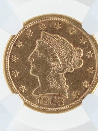 1868-S Quarter Eagle NGC AU53 $2.5 39003 obv-zm