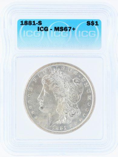 1881-S ICG MS67+ S$1 90102 obv