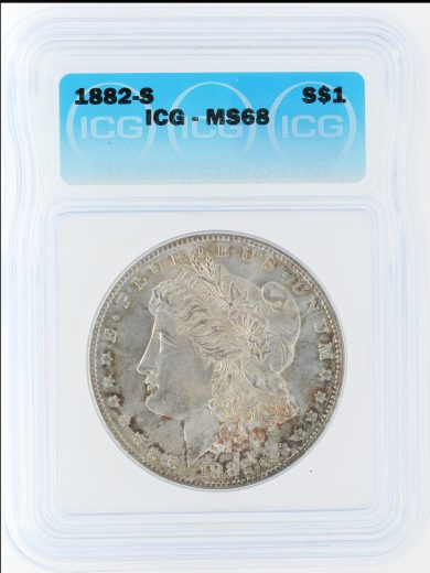 1882-S morgan dollar ICG MS68 S$1 10501 obv