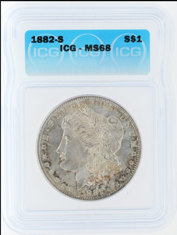 1882-S morgan dollar ICG MS68 S$1 10501 obv