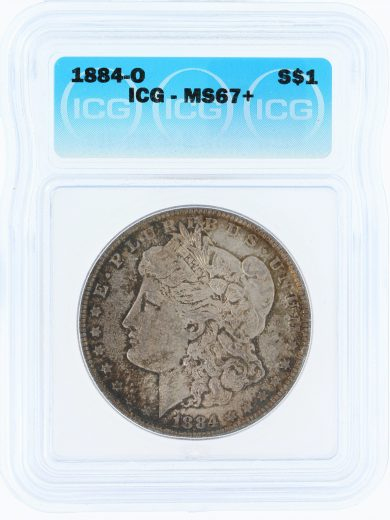 1884-O ICG MS67+ S$1 Morgan Dollar