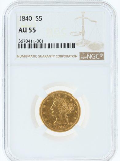 1840 Half Eagle NGC AU55 $5/11001/obv