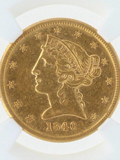 1840 Half Eagle NGC AU55 $5/11001/obv-zm