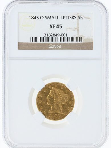1843-O Small Letters NGC XF45 $5 Half Eagle/49001/obv