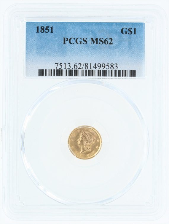 1851-gold-dollar-pcgs-ms62-g-1/99583/obv