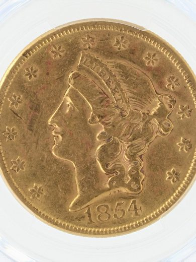 1854 Large Date PCGS XF45 $20 32476 obv-zm