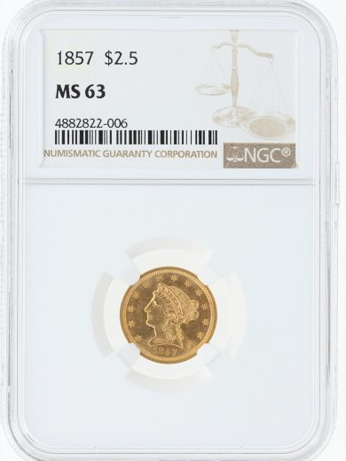 1857 Quarter Eagle NGC MS63 $2.5/22006 obv