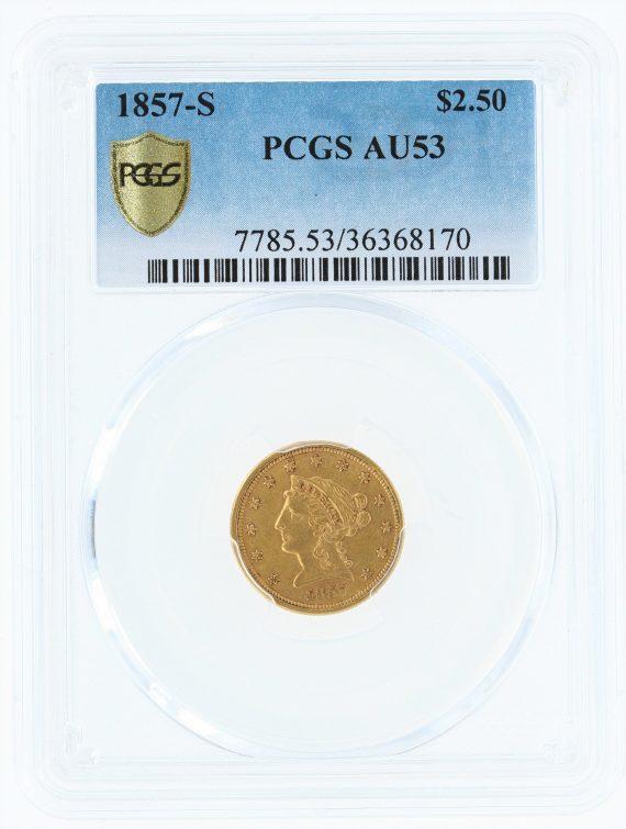1857-S PCGS AU53 $2.5 Quarter Eagle 68170 obv