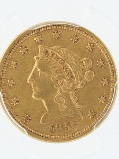 1857-S PCGS AU53 $2.5 Quarter Eagle 68170 obv-zm