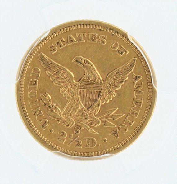1857-S PCGS AU53 $2.5 Quarter Eagle 68170 rev-zm