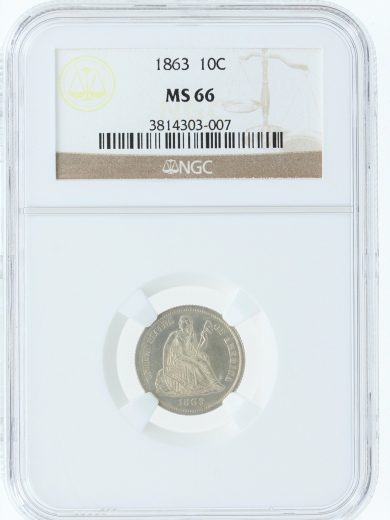 1866 Seated Liberty NGC MS66 10C 03007 obv