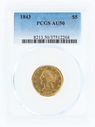 1843-pcgs-au50-5/12204/obv