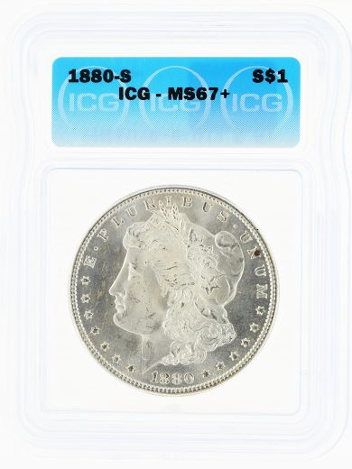 1880-S Morgan Dollar ICG MS67+ S$1 obv