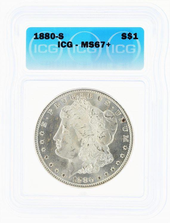 1880-S Morgan Dollar ICG MS67+ S$1 obv