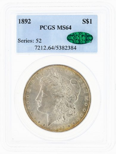 1892 Morgan Dollar PCGS MS64 S$1 obv