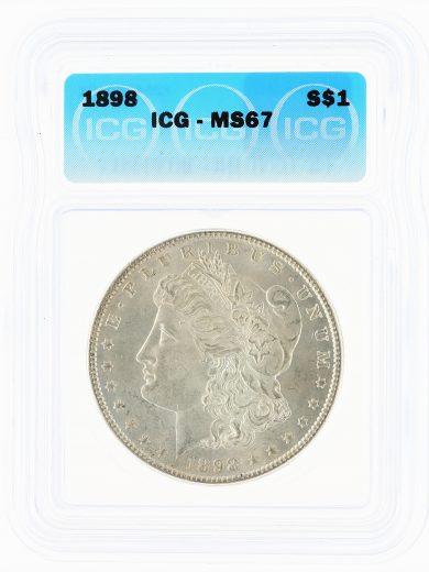 1898 Morgan Dollar ICG MS67 S$1 obv