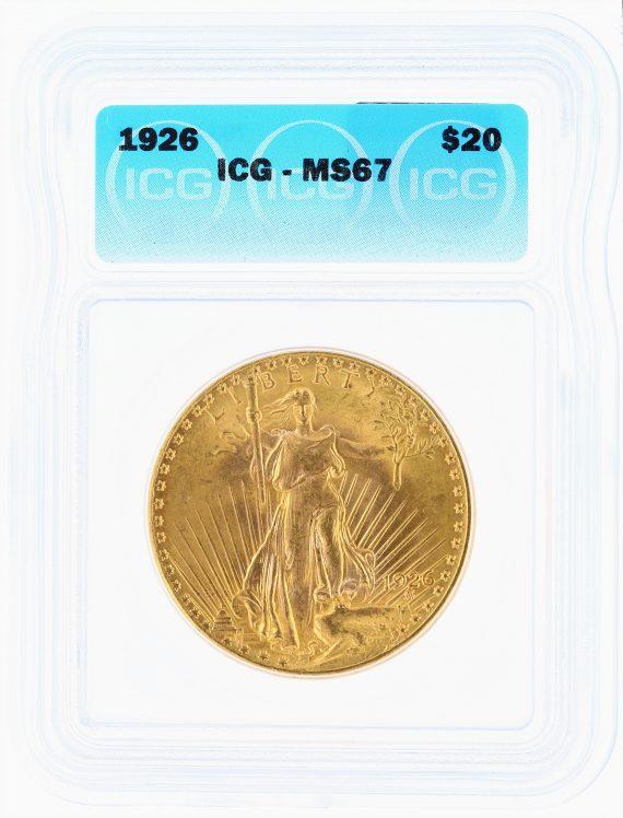 1926 ICG MS67 $20 Saint Gaudens OBV