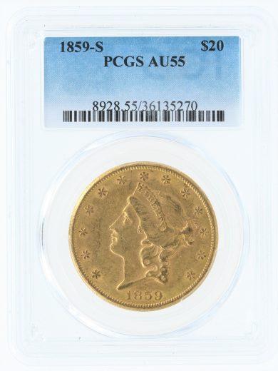 1859-S PCGS AU55 $20 35270 obv
