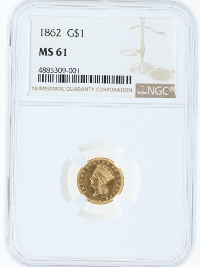 1862 NGC MS61 G$1 09001 obv