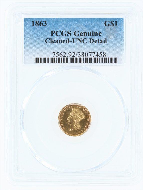 1863 Gold Dollar PCGS 77458 obv
