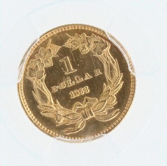 1863 Gold Dollar PCGS 77458 rev-zm