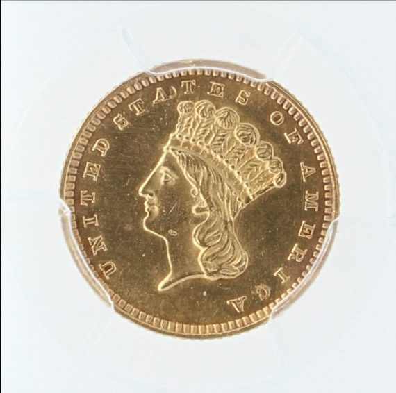 1863 Gold Dollar PCGS 77458 obv-zm