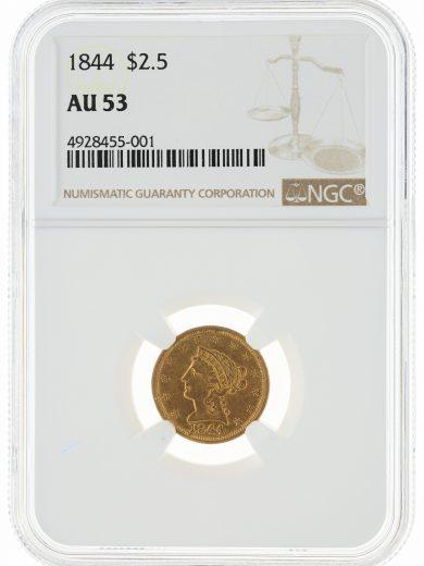 1844 Quarter Eagle NGC AU53 $2.5 55001 obv