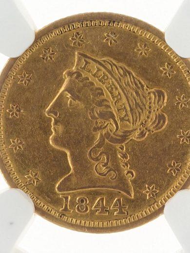 1844 Quarter Eagle NGC AU53 $2.5 55001 obv-zm
