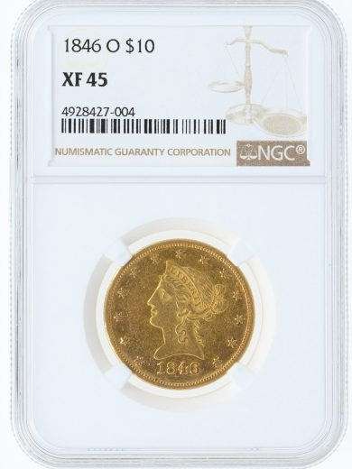 1846-O Gold Eagle NGC XF45 $10 obv