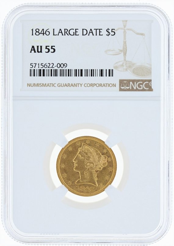 1846 Large Date Half Eagle NGC AU55 $5 obv