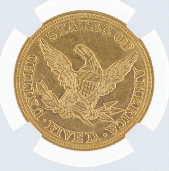 1846 Large Date Half Eagle NGC AU55 $5 rev zm