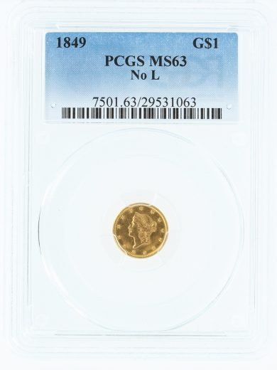 1849 Gold Dollar No L PCGS MS63 G$1 obv