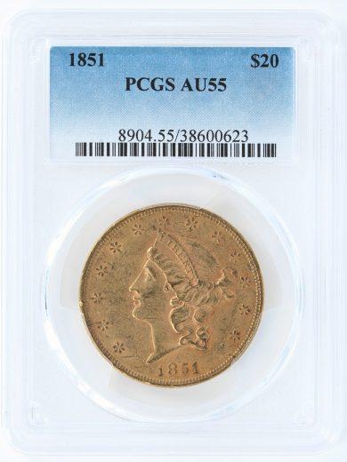 1851 Double Eagle PCGS AU55 $20 obv